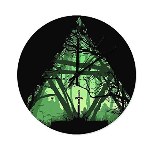 YxueSond Moderne einfache Zelda-Wanduhr, geräuschlos, leise, aus Holz, rund, für Zuhause, Büro, Schule, dekorative Wanduhren, holz, weiß, 30x30cm