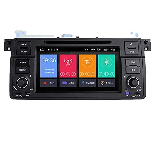 HAZYJT 1 DIN Radio Estéreo del Coche Navegación GPS Pantalla Táctil Coche Reproductor De DVD Multimedia Control De Volante con Compatible con B-MW E46 M3 Rover 75 Coupe 318/320/325/330/335