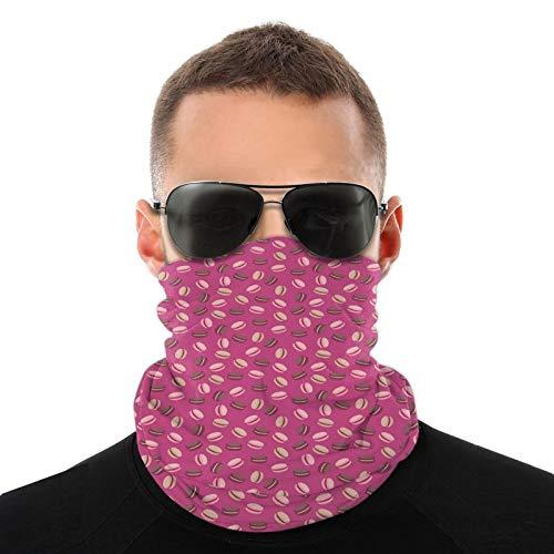 FULIYA Bufanda de cabeza variada, macarrones con crema en medio de un gráfico con temática de azúcar flotante, bufanda multifuncional al aire libre para hombres y mujeres