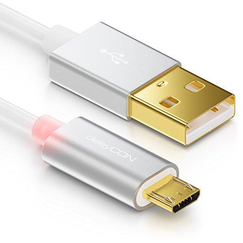 deleyCON Cavo Micro USB 1m con LED - Cavo di Ricarica Cavo Dati Cavo di Ricarica Rapido per Smartphone Tablet PC Laptop Notebook - Bianco