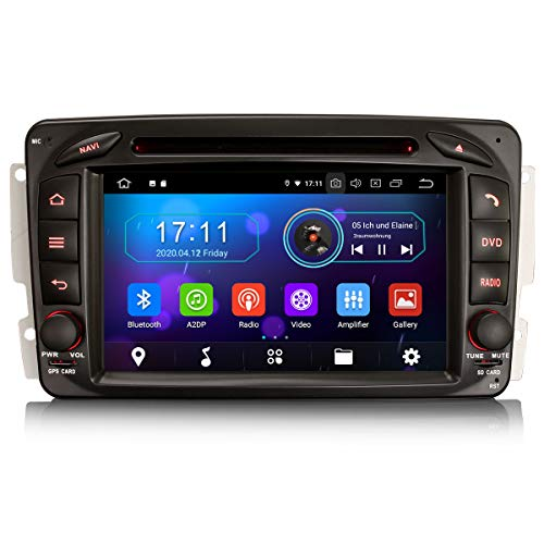 ERISIN 7 Pulgadas Android 10.0 Autoradio para Mercedes C / CLK / G Class W203 Vito Viano Soporte Carplay Android Auto BT A2DP GPS Sat Nav WiFi 4G Dab + RDS Mirror Link TPMS SWC 4GB RAM + 64GB ROM