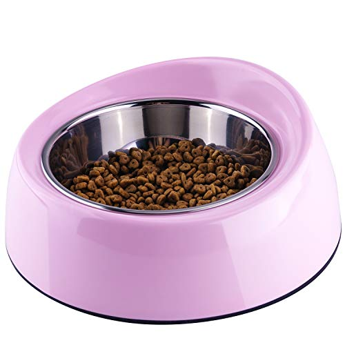 Super Design Non Spill Dog Bowl, Melamine Stand Stainless Steel Bowls, Heavy Duty Pet Food and Water Bowl