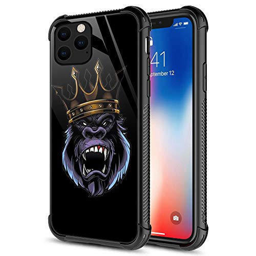 iPhone 11 Case, The Fiery Gorilla King iPhone 11 Cases, Tempered Glass Back+Soft Silicone TPU Shock Protective Case for Apple iPhone 11