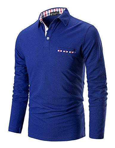 STTLZMC Casual Polo Hombre Mangas Largas Camisetas Deporte Algodón Clásico Plaid Cuello (L, Azul 1)