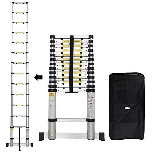 Sotech - Klappleiter, Teleskopleiter, 4,1 Meter, EN 131-6, Stabilisierungsstange, GRATIS Tragetasche, Extra gap, Maximale Belastbarkeit: 150 kg, Anzahl der Stufen: 14