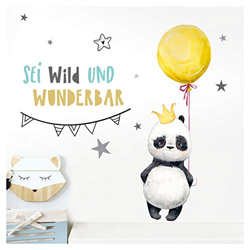 Little Deco Wandtattoo Kinderzimmer Junge Spruch Sei Wild Panda mit Luftballon Gelb Wandaufkleber Mädchen Wandsticker Aufkleber Babyzimmer Kinder Sticker DL213-09