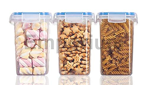Emporium Air Tight Food Storage Containers Kitchen Containers for Storage Set Plastic Storage Box for Kitchen Airtight Containers Storage Jar Set for Kitchen Storage 1500ml - 3pc Set