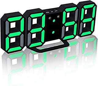 "3D LED Wall Clock 9.5"" Remote Control Digital Timer Nightlight Watch Alarm Clock for Warehouse Office Home Living Room,12/..."