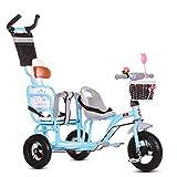 Cochecito de bebé, GUO@ Triciclo De NiñOs Doble Carrito Doble Bebé PortáTil 1-3-6 AñOs Viejo Carro De Bebé Titanio Rueda VacíA con Manija De Empuje