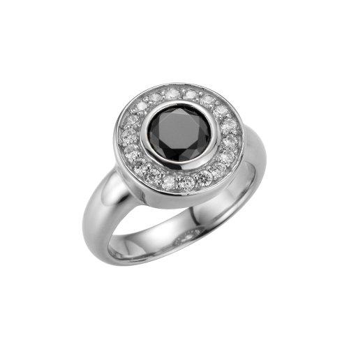 GERRY WEBER Damen-Ring Edelstahl Zirkonia schwarz-weiß Gr. 54 (17.2) 138796410540