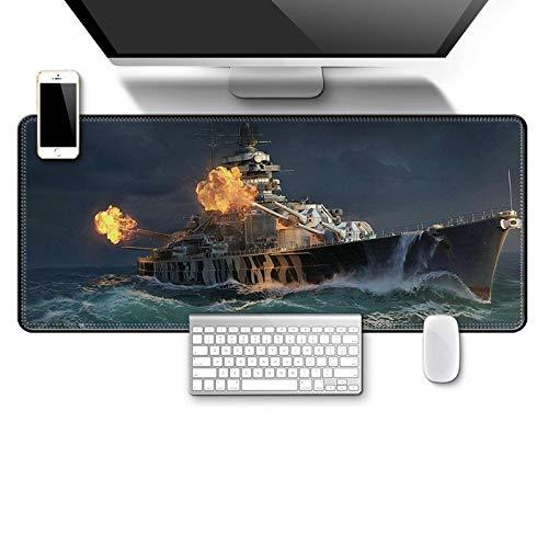 STDNJQ tapete escritorio mousepad Buque de guerra de artillería marina 800x300x3mm/31.5x11.8x0.118 inch bordes cosidos de goma antideslizantes, almohadilla de teclado para computadora portátil, mejor