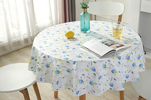 ALL FOR YOU Flannel Backed Vinyl Tablecloth Waterproof Table Protector Heavy Duty (Blue, Round 70')
