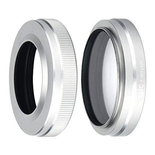JJC 49mm UV-Filter, Adapter und Metall Sonnenblende Gegenlichtblenden-Kit für Fujifilm X100V, X100F, X100T, X100S, X100 (Silber)