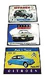udc – Juego de 3 Placas de cartulina temática: Coches Vintage, Citroen, Fabricado en Francia, 12 x 17 cm