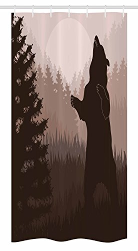 Nature Decor Stall Duschvorhang von ambesonne, Silhouette of wild Bär in Jungle Woodland an Dark Night Animal Illustration, Badezimmer Decor Set mit Haken, mauve braun, Textil, Multi 1, 36