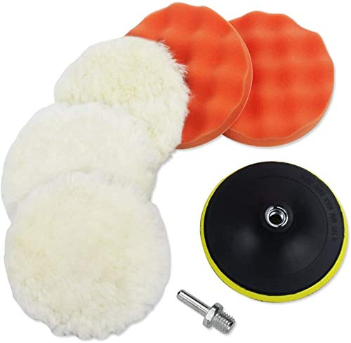 Coceca 7pcs 6 Inches Polishing Pad Kit, Sponge and Wool Polishing Pad Set with M14 Drill Adapter