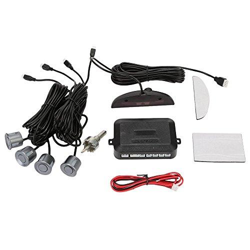 OSAN Drahtlose Einparkhilfe mit Display eingebauten Pieper inkl. 4 Sensoren in Grau