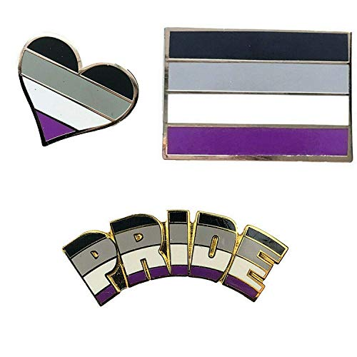 Smartbadge® Anstecknadel Asexual Pride and Asexual, länglich und Herz, Gay Pride, Harte Emaille