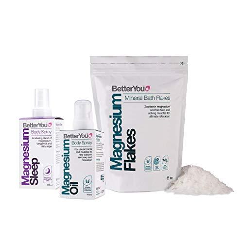 BetterYou Magnesium Health Set Includes Magnesium Flakes 1kg + Magnesium Oil Body Spray 100ml + Magnesium Sleep Body Spray 100ml