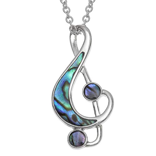 Treble Cleff Musical Note Necklace with Paua Shell Inlay