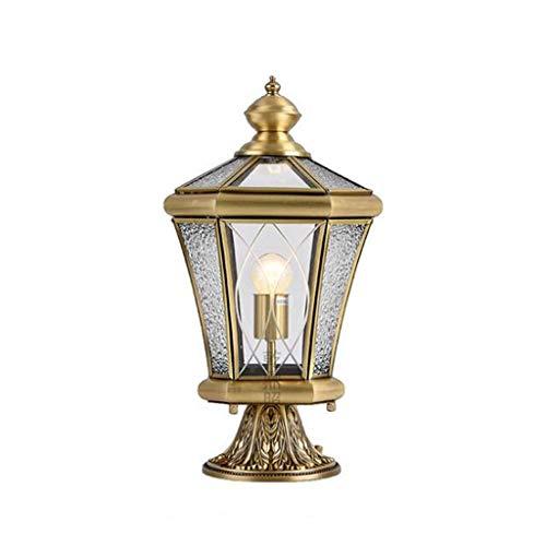 Pointhx Europa Lámpara de columna de luz de poste para exteriores Fuera de la valla a prueba de lluvia Luces de pilar Profesión Prevención de óxido Todo Cobre Porche Linterna Jardín creativo Balcón re
