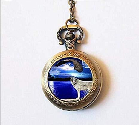 Mond-Uhr mit Tierkette, Wolf Heulend at Adler, Taschenuhr, Wolf Schmuck Charm Geschenk