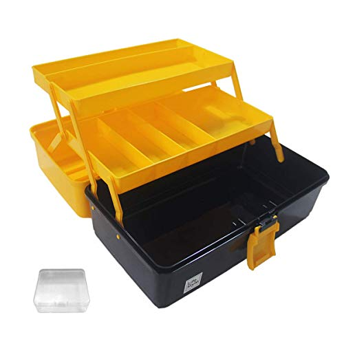 WEWLINE Portable Multi-function Tool Box, Plastic Toolbox with Organizer Tray and Divider,Household Folding Three-layer Tools Box Organizer Indiana