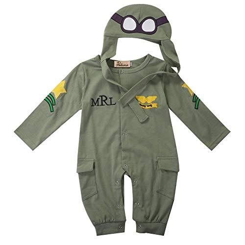 Carolilly Conjunto de 2 piezas de otoño con pelele para bebé, estilo piloto, color verde militar, manga larga + gorro, mono, unisex, mono para bebé verde militar 18-24 Meses