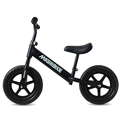 MAGIKBIKE Bicicletta Senza Pedali| Bici da Equilibrio | Prima Bici Senza Pedali | Balance Bike | Manubrio e Sedile Regolabili | De 3 a 5 Anni (Nera RUOTE PIENE)