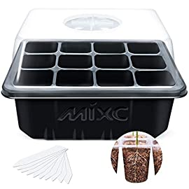 "MIXC 120 Cells Seed Trays Seedling Starter Tray Humidity Adjustable Plant Starting Kit with Dome and Base Greenhouse… 9 Keep an eye on your growth: The only design in the market- High quality clear plastic trays of this seed grow kit make it easy to observe your plants without interrupting the process Total control: Adjustable vents of this seed trays allow you to regulate the temperature and humidity of your seedling environment, so you have total control over the growing process Perfect size for seed starting: Size of the cells: 1.5""in Length and 1.5""in Wide, these seed trays are suitable for small seeds, such as flowers, vegetables, fruits, tobacco and other plants."