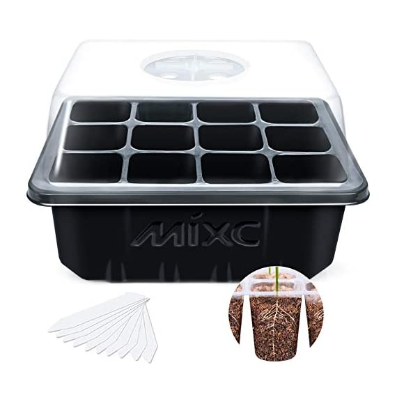 """Mixc 120 cells seed trays seedling starter tray humidity adjustable plant starting kit with dome and base greenhouse… 1 keep an eye on your growth: the only design in the market- high quality clear plastic trays of this seed grow kit make it easy to observe your plants without interrupting the process total control: adjustable vents of this seed trays allow you to regulate the temperature and humidity of your seedling environment, so you have total control over the growing process perfect size for seed starting: size of the cells: 1. 5""""in length and 1. 5""""in wide, these seed trays are suitable for small seeds, such as flowers, vegetables, fruits, tobacco and other plants."""