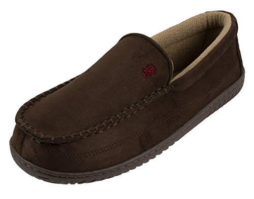 IZOD Men's Classic Two-Tone Moccasin Slipper, (X-Large / 11-12 D(M) US, Solid Brown)