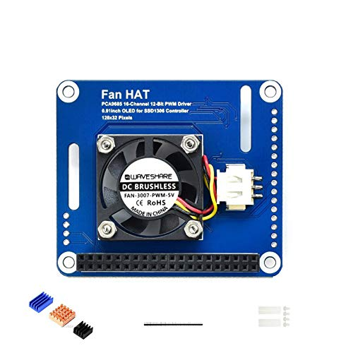 Coolwell Waveshare PWM Controlled Fan HAT for Raspberry Pi I2C Bus PCA9685 Driver with Real Time Temperature Monitor Auto Adjustment Up to 16-Ch PWM Outputs
