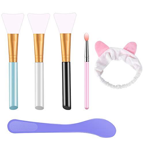 Pennello Maschera Viso e Fascia per Capelli, 6 in 1 Spazzole per Maschera Facciale in Silicone Senza Peli, Applicatori di Cosmetici per Occhi Viso Labbro Corpo e Maschera a DIY