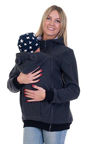 Divita Tragejacke mit süssen Bärchen Ohren für Tragetuch Babytrage Fleece für Baby und Mama 05 (36/S, Graphit)
