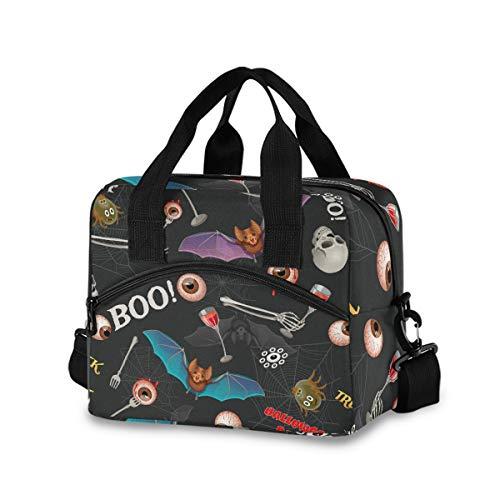 Bolsa de almuerzo de Halloween para mujeres y hombres, bolsa de transporte con aislamiento de calavera y globo ocular con correa de hombro desmontable y asa de transporte