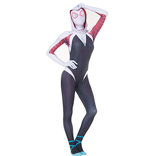 Reyee Spider Gwen Stacy Costume Lycra Spandex Superhero Spiderman Women Zentai Halloween Cosplay Bodysuit for Adults/Kids (Kids-M) Blue