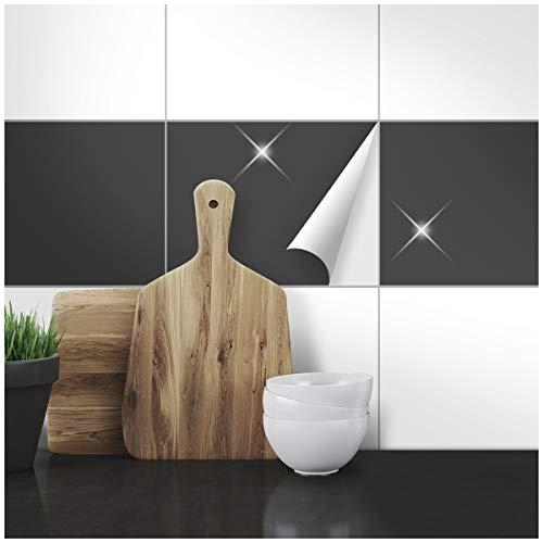 Wandkings Fliesenaufkleber - Wähle eine Farbe & Größe - Anthrazit Glänzend - 20 x 30 cm - 50 Stück für Fliesen in Küche, Bad & mehr