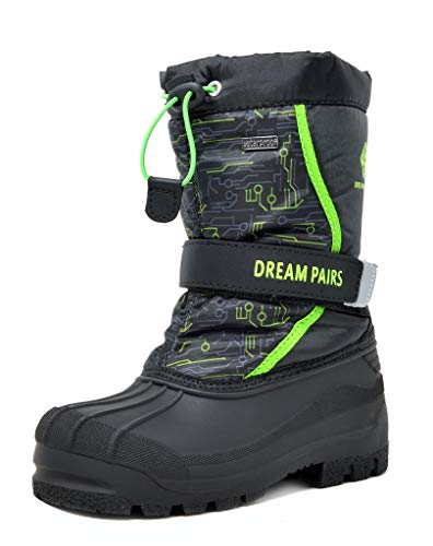 DREAM PAIRS Big Kid Kamick Black N.Green Mid Calf Waterproof Winter Snow Boots Size 4 M US Big Kid