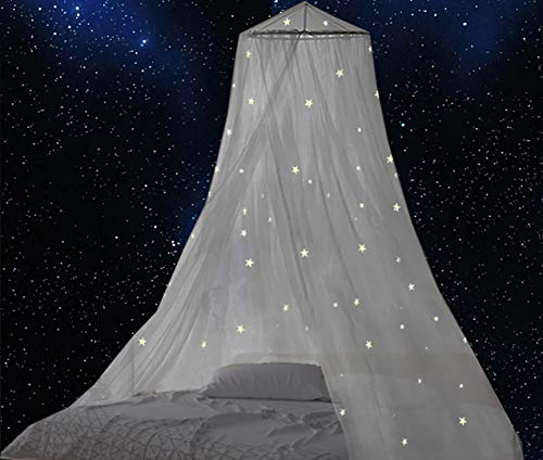 BCBYou Bed Canopy with Fluorescent Stars Glow in Dark for Baby, Kids, Girls Or Adults, Anti Mosquito As Mosquito Net Use to Cover The Baby Crib, Kid Bed, Girls Bed Or Full Size Bed (White)