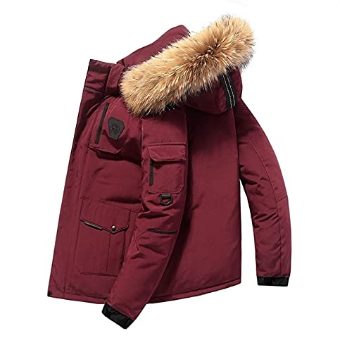 SKYWPOJU Chaqueta de plumón para Hombre, Impermeable, de Secado rápido y Abrigo de Invierno Transpirable, Ideal para Viajes, al Aire Libre (Color : Red, Size : L)