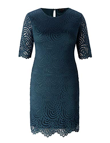 Chicwe Women's Lined Stretch Lace Plus Size Shift Dress with Scalloped Hem and Cuff Teal Abyss 3X