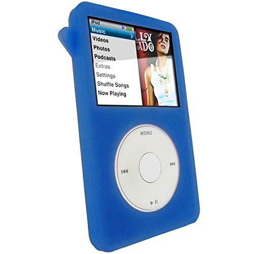 iGadgitz U0260 Custodia Silicone Compatibile con Apple iPod Classic 80GB, 120GB & 6th Gen 160gb, con Protettore Schermo & Clip Cintura, Blu