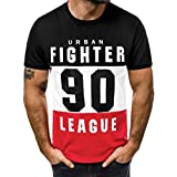 Camisetas Hombre Originales 2019 Nuevo SHOBDW Cómodo Cuello Redondo Blusa Tops Verano Letra Impresa Camisetas Hombre...