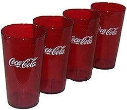 مجموعة أكواب بلاستيكية بلون أحمر داكن بشعار Coca Cola من 14-16 أوقية (كوكي)