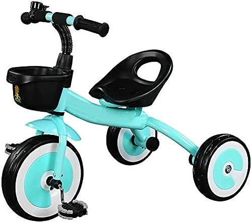 shuhong Kinder 3 Rad Fahrrad Dreirad Erstes Fahrrad, Sitz Kann Eingestellt Werden, Eva-Rad 2-5 Jahre Alt,Blau