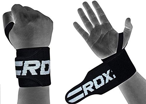 RDX Weight Lifting Wrist Support Wraps with Thumb Loop - Approved by IPL and USPA - Elasticated Straps for Strength Training, Powerlifting, Bodybuilding, Gymnastics, Workout and Xfit Exercise