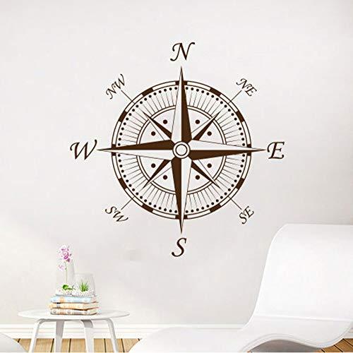 mlpnko Seekompass Wandtattoo Navigation Schiff Vinyl Aufkleber Kompass Ozean Ozean Wohnzimmer Schlafzimmer Kindergarten Wanddekoration 75x113cm