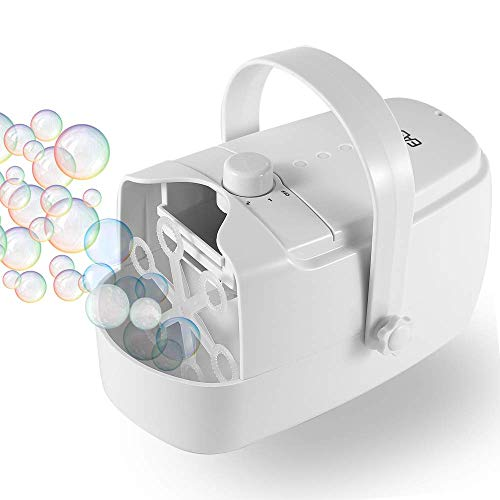 EASYCEL Bubble Machine, Automatic Bubble Blower Machine, Portable Bubble Maker for Outdoor and Indoor Use, Powered by Plug-in or Batteries with Two Speed Modes (White)