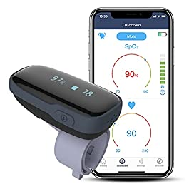 Wellue Oxylink Wireless Wearable Health Monitor Bluetooth Pulse Meter with Audio Reminder in Free App – Rechargeable…